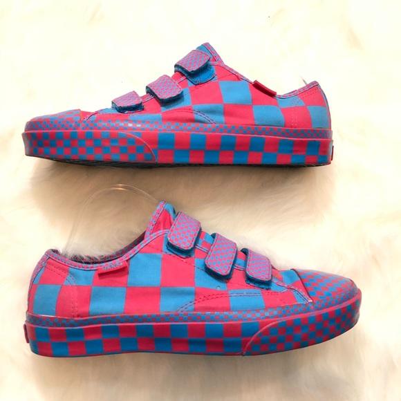 Rare Pink Blue Checkerboard Vans Unisex